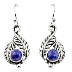 1.96cts natural blue lapis lazuli 925 sterling silver dangle earrings r42927