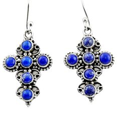 7.31cts natural blue lapis lazuli 925 sterling silver dangle earrings r44739