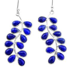 17.08cts natural blue lapis lazuli 925 sterling silver dangle earrings t1772