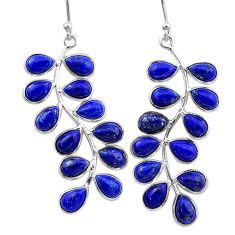 16.94cts natural blue lapis lazuli 925 sterling silver dangle earrings t1774