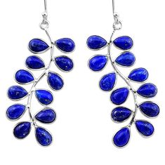 16.99cts natural blue lapis lazuli 925 sterling silver dangle earrings t1775