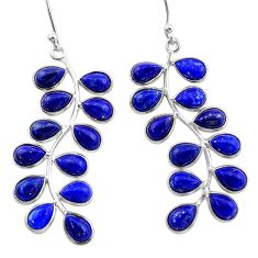 16.94cts natural blue lapis lazuli 925 sterling silver dangle earrings t1777