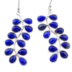 17.08cts natural blue lapis lazuli 925 sterling silver dangle earrings t1778