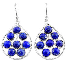 12.58cts natural blue lapis lazuli 925 sterling silver dangle earrings t1806