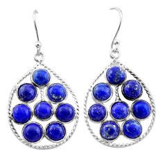 12.58cts natural blue lapis lazuli 925 sterling silver dangle earrings t1807