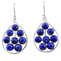 12.22cts natural blue lapis lazuli 925 sterling silver dangle earrings t1809