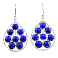 12.58cts natural blue lapis lazuli 925 sterling silver dangle earrings t1810