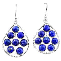 11.47cts natural blue lapis lazuli 925 sterling silver dangle earrings t1812