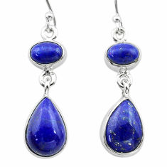 11.15cts natural blue lapis lazuli 925 sterling silver dangle earrings t19592