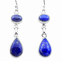 10.84cts natural blue lapis lazuli 925 sterling silver dangle earrings t19596