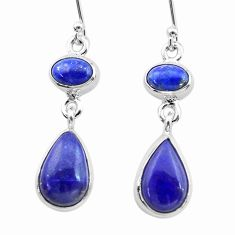 10.43cts natural blue lapis lazuli 925 sterling silver dangle earrings t19598