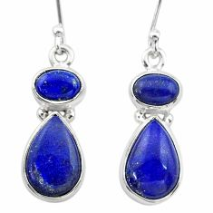 10.39cts natural blue lapis lazuli 925 sterling silver dangle earrings t19600