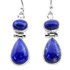 11.19cts natural blue lapis lazuli 925 sterling silver dangle earrings t19745