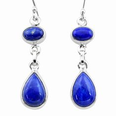 10.70cts natural blue lapis lazuli 925 sterling silver dangle earrings t19746