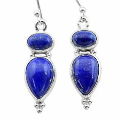 10.37cts natural blue lapis lazuli 925 sterling silver dangle earrings t19751