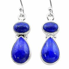 9.90cts natural blue lapis lazuli 925 sterling silver dangle earrings t19755