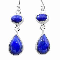 10.93cts natural blue lapis lazuli 925 sterling silver dangle earrings t19758