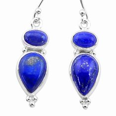 9.96cts natural blue lapis lazuli 925 sterling silver dangle earrings t19801