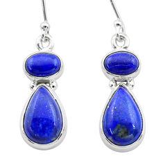 9.78cts natural blue lapis lazuli 925 sterling silver dangle earrings t19803