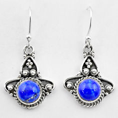 2.67cts natural blue lapis lazuli 925 sterling silver dangle earrings t26842