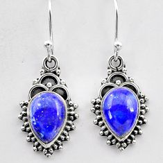 4.71cts natural blue lapis lazuli 925 sterling silver dangle earrings t26869