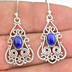 3.06cts natural blue lapis lazuli 925 sterling silver dangle earrings t28307