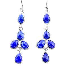 11.15cts natural blue lapis lazuli 925 silver dangle earrings t34025