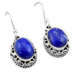 6.05cts natural blue lapis lazuli 925 sterling silver dangle earrings t46805