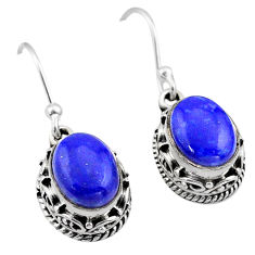 6.33cts natural blue lapis lazuli 925 sterling silver dangle earrings t46808