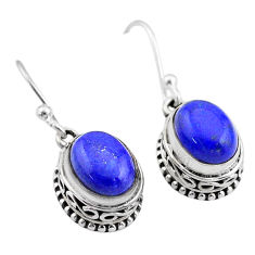 6.05cts natural blue lapis lazuli 925 sterling silver dangle earrings t46821
