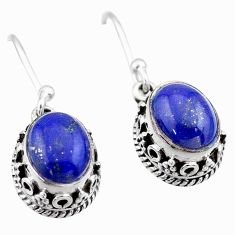 5.82cts natural blue lapis lazuli 925 sterling silver dangle earrings t46868