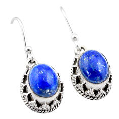 5.23cts natural blue lapis lazuli 925 sterling silver dangle earrings t46884
