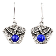 2.72cts natural blue lapis lazuli 925 sterling silver earrings jewelry d45830