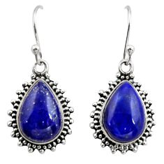 12.07cts natural blue lapis lazuli 925 sterling silver earrings jewelry r26585
