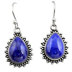 11.66cts natural blue lapis lazuli 925 sterling silver earrings jewelry r26586