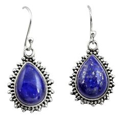 12.48cts natural blue lapis lazuli 925 sterling silver earrings jewelry r26587