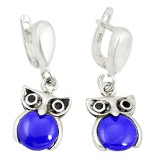 Natural blue lapis lazuli 925 sterling silver owl earrings jewelry c11764