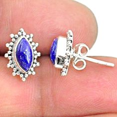 4.07cts natural blue lapis lazuli 925 sterling silver stud earrings r68065