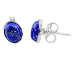 4.16cts natural blue lapis lazuli 925 sterling silver stud earrings t19229