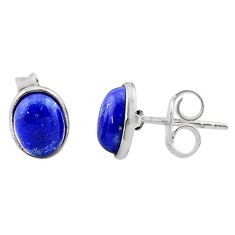 4.24cts natural blue lapis lazuli 925 sterling silver stud earrings t19230