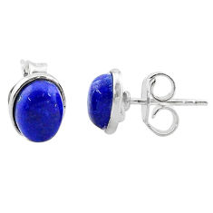 3.79cts natural blue lapis lazuli 925 sterling silver stud earrings t19248