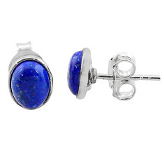 3.87cts natural blue lapis lazuli 925 sterling silver stud earrings t19257