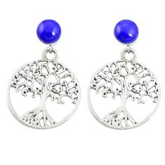 Natural blue lapis lazuli 925 sterling silver tree of life earrings c11817