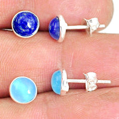 5.20cts natural blue lapis lazuli chalcedony 925 silver stud earrings r81621