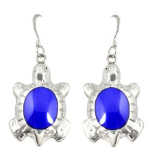 Natural blue lapis lazuli enamel 925 silver tortoise earrings jewelry c22200
