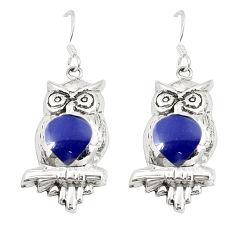Natural blue lapis lazuli enamel 925 sterling silver owl earrings c11596