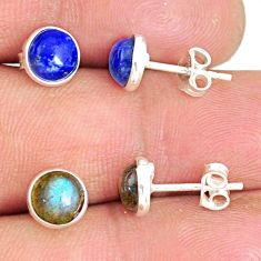 6.16cts natural blue lapis lazuli labradorite 925 silver stud earrings r81626