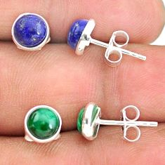 4.81cts natural blue lapis lazuli malachite 925 silver stud earrings t23903