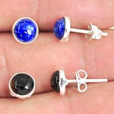 5.70cts natural blue lapis lazuli onyx 925 sterling silver stud earrings r81627
