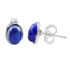 4.18cts natural blue lapis lazuli round 925 sterling silver stud earrings t19269
